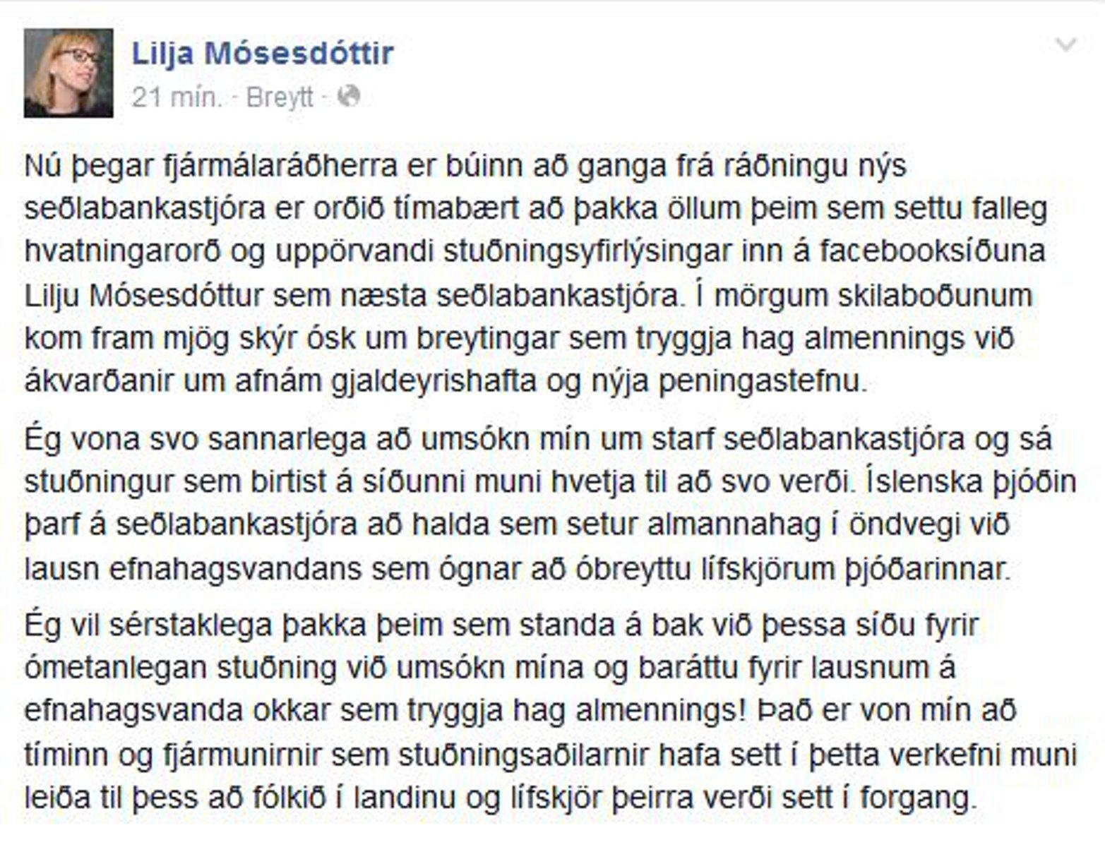 Lilju Mósesdóttur sem næsta seðlabankastjóra